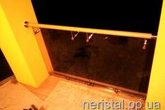 Ограждения балкона из нержавейки со стеклом ПВХ поручень Писки